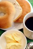 Breakfast with bagel and coffee Stock Images