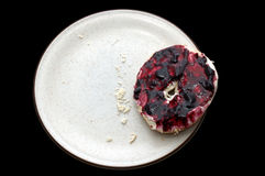 Breakfast Bagel & Jelly. The last bagel half, covered in cheese and jelly Stock Images