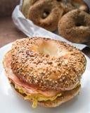 Breakfast bagel sandwich Royalty Free Stock Photo