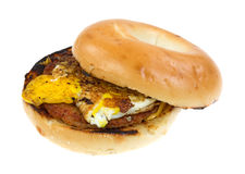 Breakfast bagel with sausage and egg Stock Photo