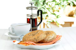 Breakfast Bagels Royalty Free Stock Photography