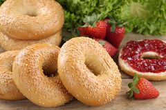 Breakfast with bagels and marmalade Stock Photos