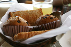 Breakfast bakery. In set on table Royalty Free Stock Photography