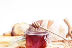 Breakfast.Bakery Bread and honey Stock Photos