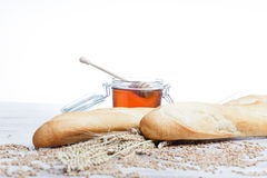 Breakfast.Bakery Bread and honey Royalty Free Stock Photo