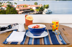 Breakfast on the balcony. With an ocean view Royalty Free Stock Photos