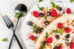 Breakfast banana split Royalty Free Stock Photography