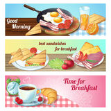 Breakfast Banner Set Royalty Free Stock Photography