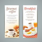 Breakfast Banners Set. Breakfast food vertical banners set with coffee cup croissant fried eggs and orange juice isolated vector illustration Royalty Free Stock Image
