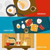 Breakfast banners set. Breakfast lunch and coffee time horizontal banners set flat isolated vector illustration Royalty Free Stock Images