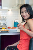 Breakfast at the bar kitchen Royalty Free Stock Photography