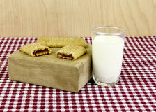 Breakfast Bars and a Glass of Milk Stock Photography