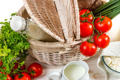 Breakfast basket full of healthy and fresh produce Stock Photos
