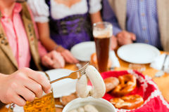 Breakfast with Bavarian white veal sausage Stock Images