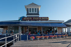Breakfast at the Beach. Avon-by-th-Sea, NJ USA -- Aug 4, 2016 People enjoying breakfast outdoors at  a boardwalk restaurant on a sunny summer morning. Editorial Royalty Free Stock Photography