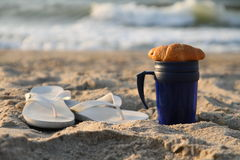 Breakfast on the beach Royalty Free Stock Photography