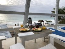 breakfast on the beach in Mexico Stock Images