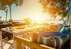 Breakfast on the beach of Santorini island Royalty Free Stock Images