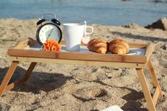 Breakfast on the beach Stock Images