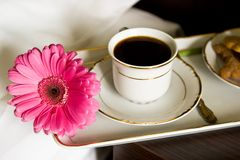 Breakfast in bed. White tray with breakfast and pink flower Stock Photo