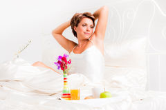Breakfast in bed Royalty Free Stock Photography