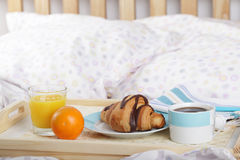 Breakfast on the bed Stock Photos