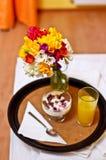 Breakfast on bed stock photos