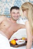 Breakfast in bed stock photos