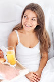 Breakfast in bed. Bedtime collection: breakfast in bed Stock Images