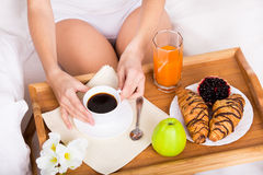 Breakfast in bed as perfect morning Stock Photography