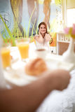 Breakfast in bed as surprise for girl. For birthday Royalty Free Stock Images