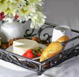 Breakfast in bed. With, bread, cheese, milk and fruits Stock Image
