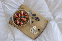 Breakfast on the bed Stock Photography