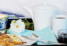 Breakfast In Bed With Coffee And Scones Royalty Free Stock Photo
