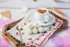 Breakfast in bed on copper tray over bed linens. Breakfast in bed on copper tray over bed linens Stock Image