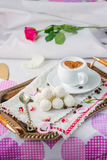 Breakfast in bed on copper tray over bed linens. Breakfast in bed on copper tray over bed linens Royalty Free Stock Image