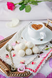 Breakfast in bed on copper tray over bed linens. Breakfast in bed on copper tray over bed linens Royalty Free Stock Photos