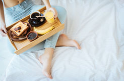 Breakfast in bed - french toasts with a cup of coffee. Stock Image