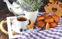 Breakfast  in bed with fresh buns Royalty Free Stock Photo