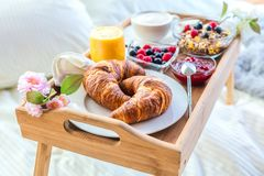Breakfast in bed with fruits and pastries on a tray. royalty free stock photography
