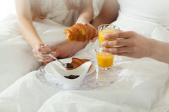 Breakfast in bed at hotel Royalty Free Stock Photos