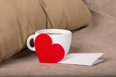 Breakfast in bed with love Stock Images