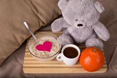 Breakfast in bed with love Stock Photos
