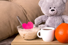 Breakfast in bed with love Royalty Free Stock Image