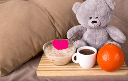 Breakfast in bed with love Stock Photo