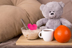 Breakfast in bed with love Royalty Free Stock Photos