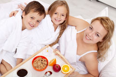 Breakfast in bed for mom Royalty Free Stock Photos