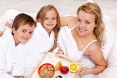 Breakfast in bed for mother Royalty Free Stock Image