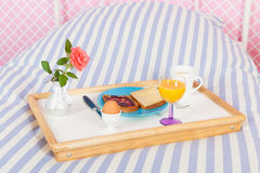 Breakfast on bed Stock Photo
