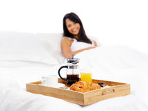 Breakfast in bed service Royalty Free Stock Image